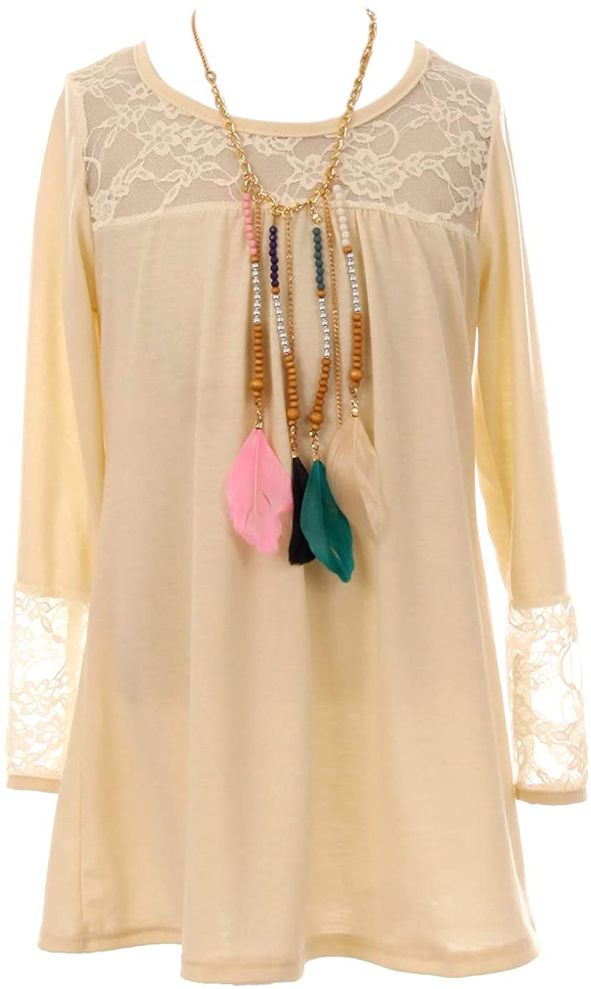 Big Girl Long Sleeve Floral Lace Easter Necklace Blouse T-Shirt Top Shirt Kids Ivory 12 JKS 2155
