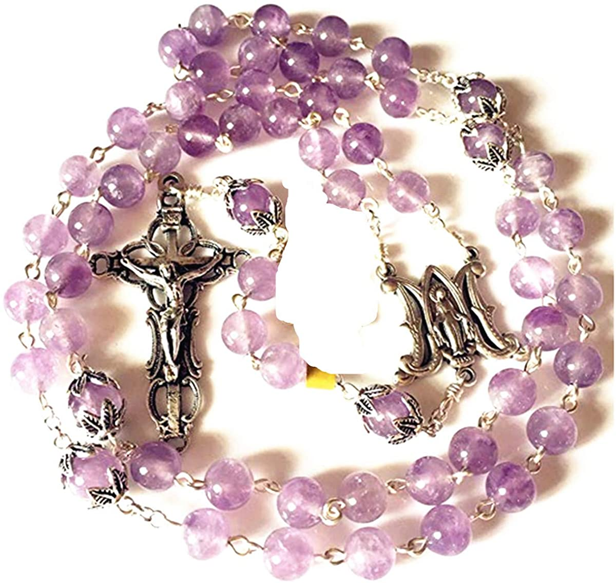 elegantmedical Handmade Lavender Light Purple Crystal ROSE ROSARY NECKLACE Italy Cross Catholic gifts sterling silver beads caps