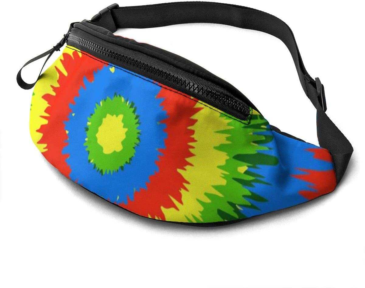 Tie Dye Fanny Pack for Men Women Waist Pack Bag with Headphone Jack and Zipper Pockets Adjustable Straps