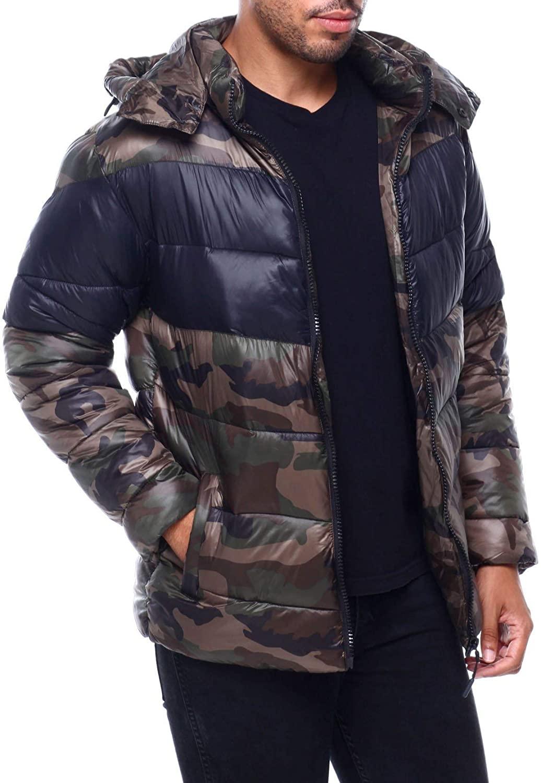 MADBLUE Nylon Chevron Puffer Jacket with Hood(MJ9891)