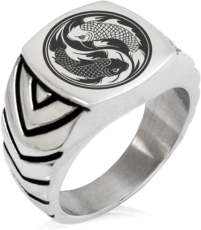 Tioneer Stainless Steel Koi Fish Yin Yang Chevron Pattern Biker Style Polished Ring