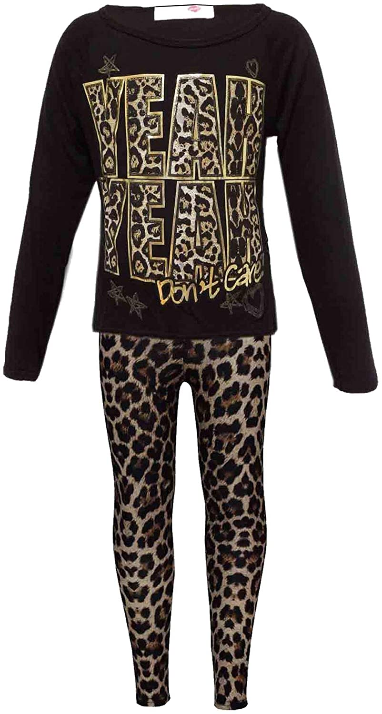 Girls Yeah Yeah Print Party Fashion Top T Shirt & Leopard Legging Set 7-13