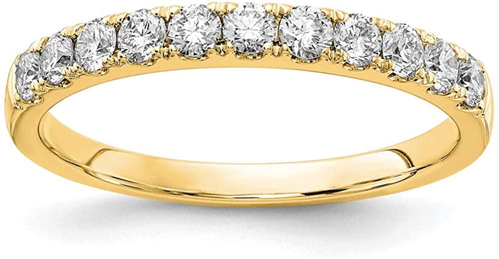 14K Yellow Gold Ring Band Lab Grown Diamond SI1 SI2, G H I, 1 2ct Wedding, Size 9