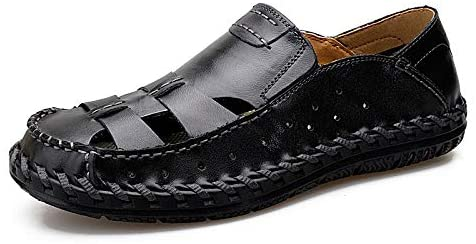 Zhukeke Beach Handmade Stitching Sandals for Men Outdoor Water Shoes Slip-on Genuine Leather Hollow Wear-Resistant (Color : Black, Size : 9.5 D(M) US)