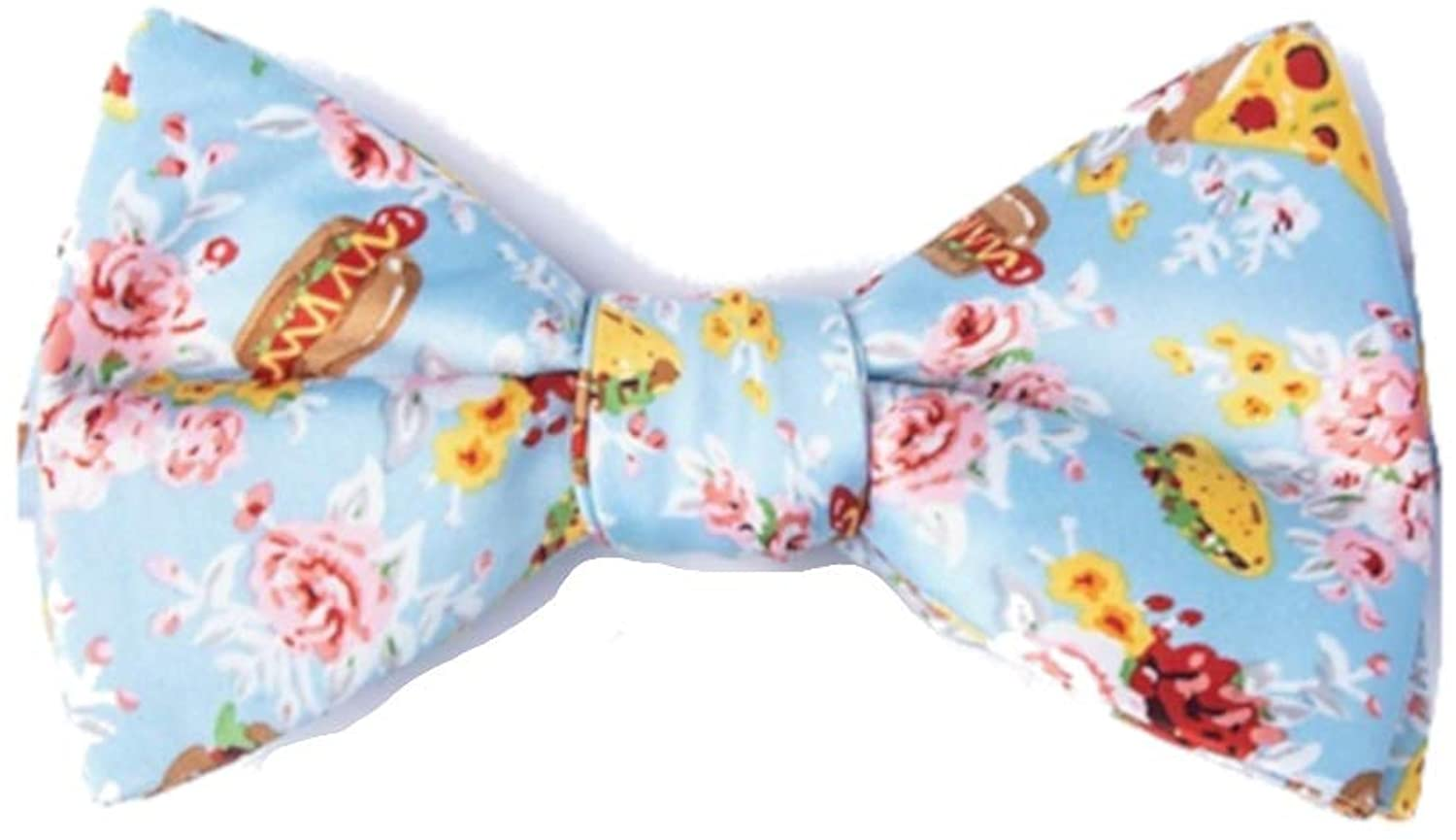 Men's Light Blue Fast Food Floral Tacos Pizza Hamburgers Hots Dogs Self Tie Bow Tie