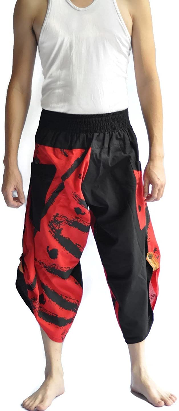 Siam Trendy Men's Japanese Style Pants One Size Black Two Tone