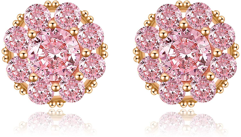 MAIDEARS Rotatable Pink Stud Earrings for Women Hypoallergenic Rose Gold Stud Earrings for Girls
