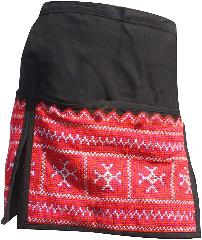 RaanPahMuang Apron or Waitress Waist Money Bag Pouch Hill Tribe Change Belt, Black Orange Perple
