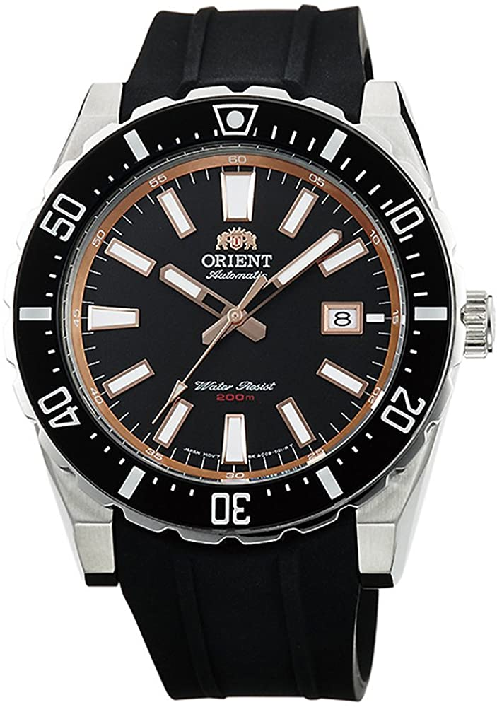 Orient Mens  Nami Japanese Automatic Stainless Steel and Leather Diving Watch