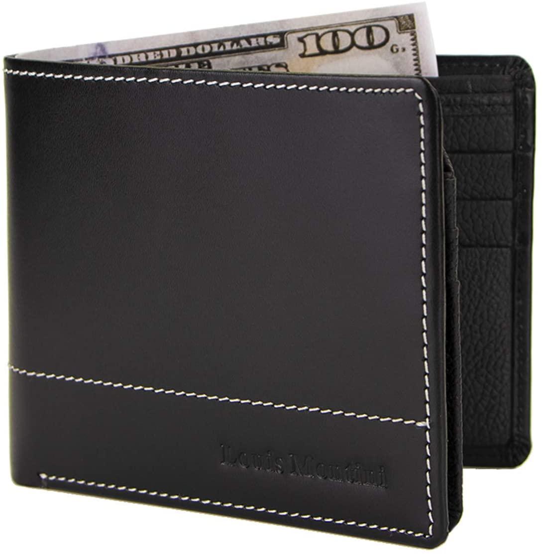 Louis Montini Men's Leather Wallet Full-Grain Purse Cowhide wallet Bifold wallet