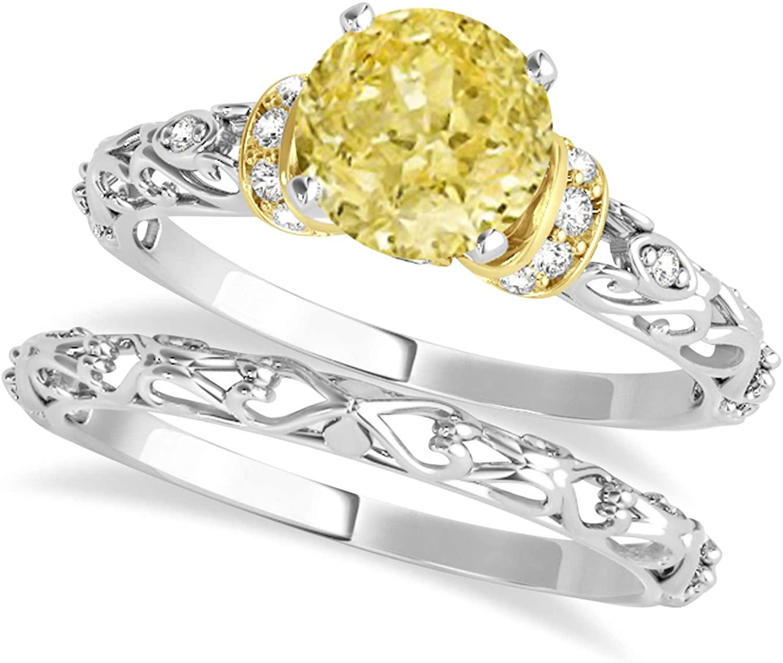 (0.87ct) 14k Two-Tone Gold Yellow Diamond and Diamond Antique-Style Bridal Set