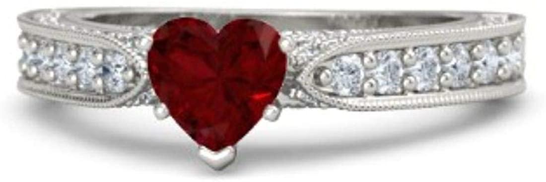 GemsIndustry 14k White Gold Moissanite Anniversary Designer Fine Ring for Girls