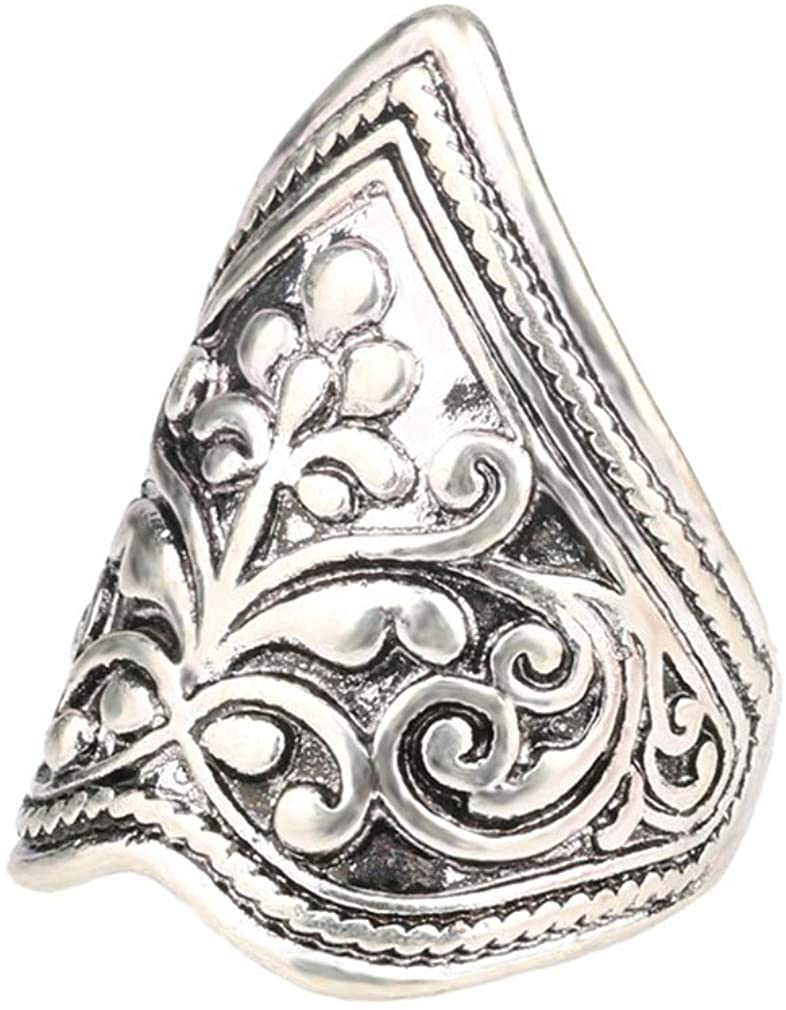 YAZILIND Exquisite Carved Band Ring Vintage Personality Rings Unisex Birthday Party Jewelry Gift