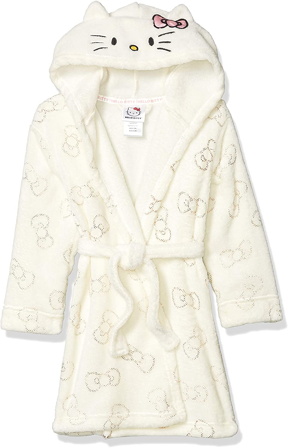 Hello Kitty Big Girls Velvet Fleece Hooded Plush Bathrobe