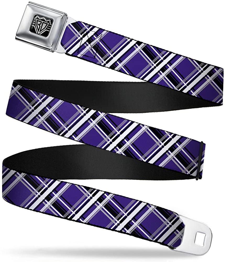Buckle-Down Seatbelt Belt - Houndstooth Gray/Purple/White - 1.0