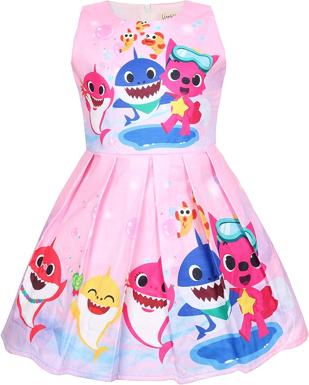 Baby Dress Pajamas Shark Nightgown for Girls Cartoon Toddler Home Wearing 2-7Yrs