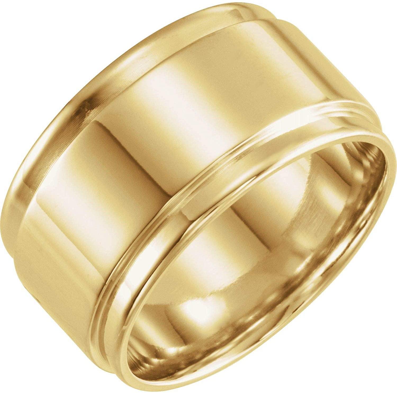 Bonyak Jewelry 18k Yellow Gold 12mm Flat Edge Band - Size 9