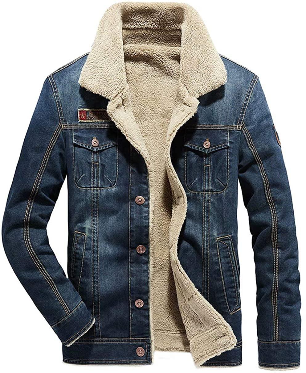 Gsun Men's Sherpa Lined Denim Trucker Jacket Winter Fall Warm Jean Jacket Cowboy Coat