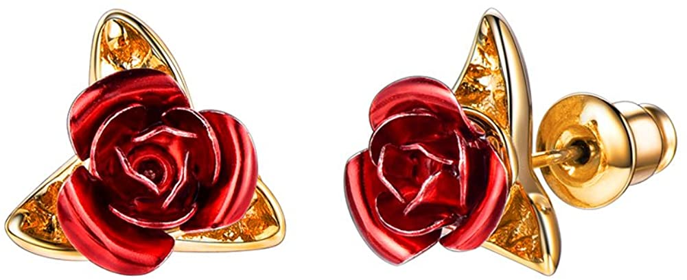 U7 Cute Earrings for Girls Women Hypoallergenic Piercing Jewelry 18K Gold Plated Red Rose Flower Stud Earrings,with Gift Box