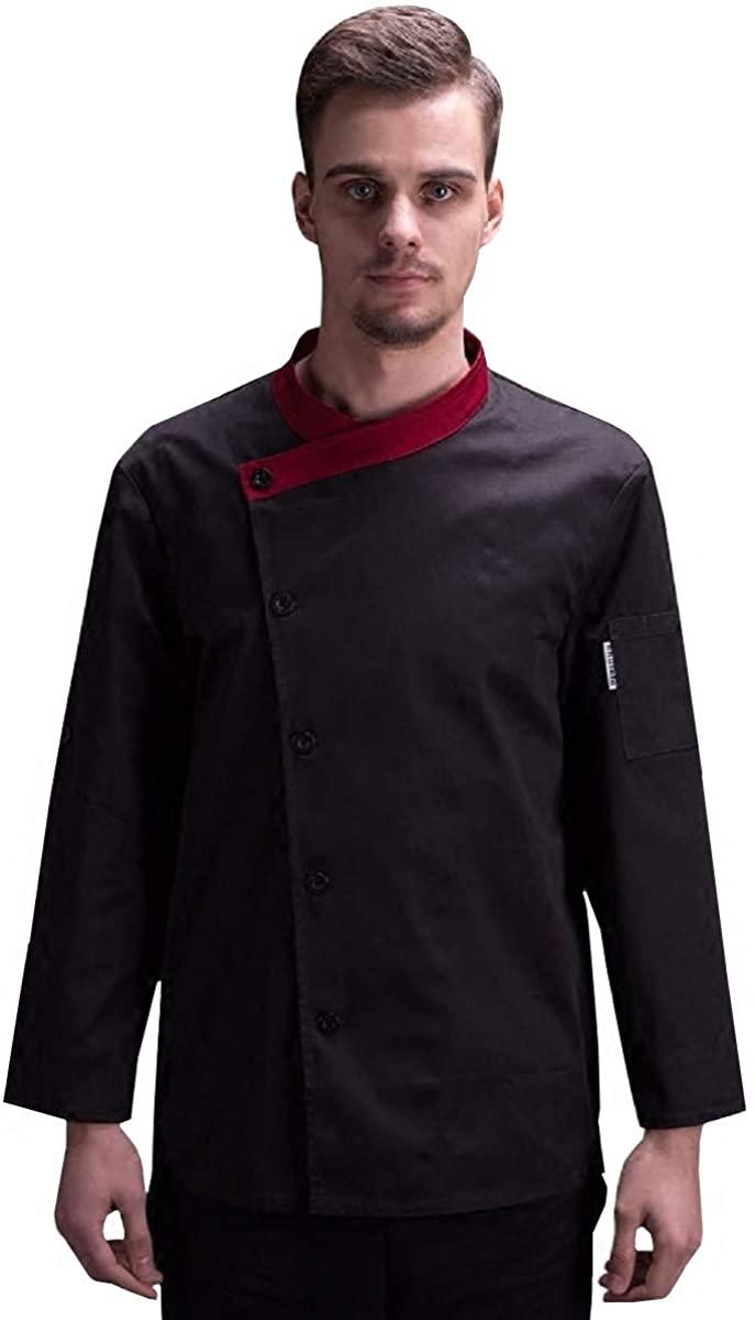 XINFU Fashion Chef Uniform Unisex Hotel Restaurant Kitchen Adjustable Long Sleeve Chef's Jacket