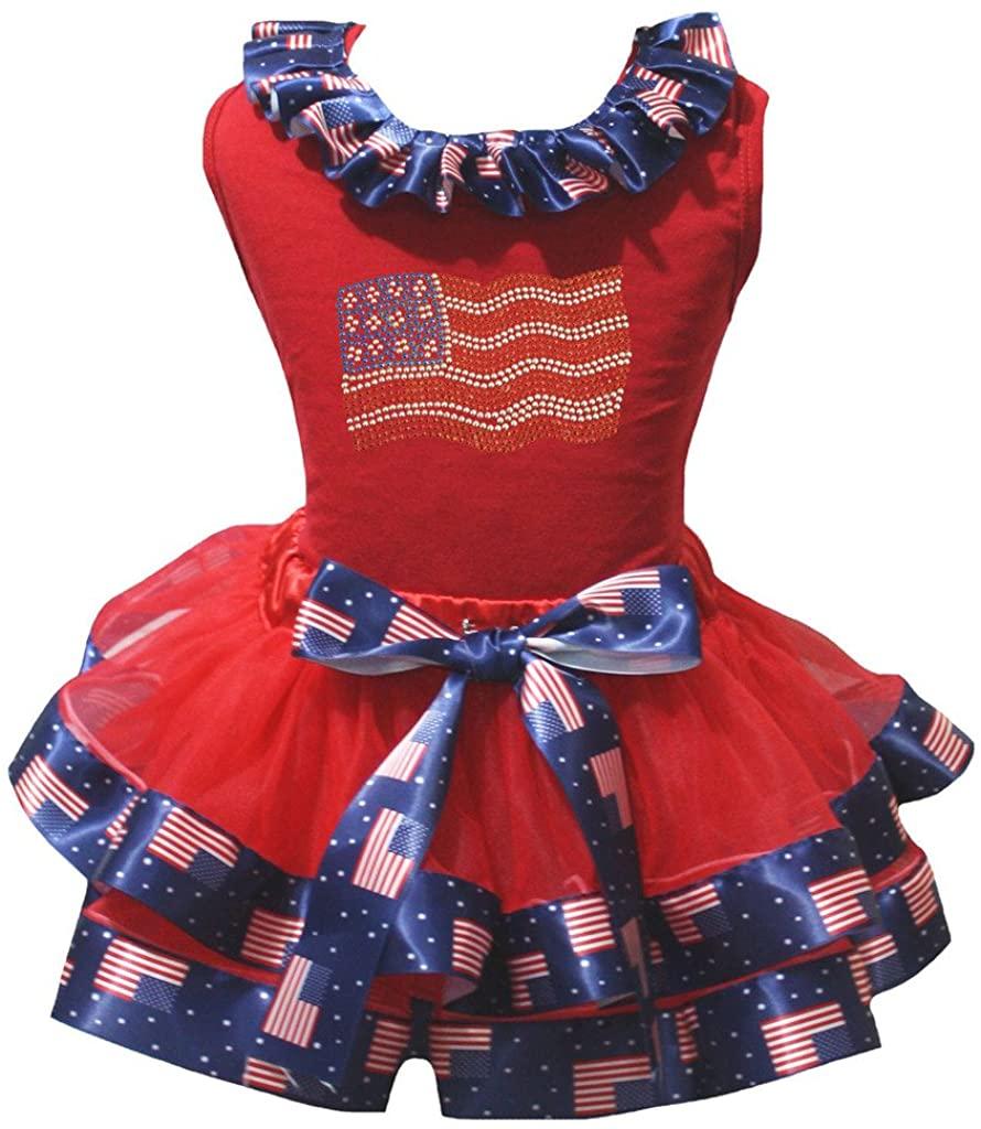 Petitebella America Flag Shirt US Red Petal Skirt Set Nb-8y