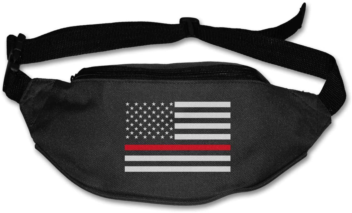 SWEET-YZ Unisex Waist Pack Red Thin Line Flag Flat Fanny Bag Pack for Sport Running