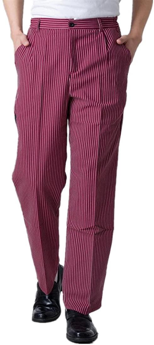 WAIWAIZUI Chef Pants Work Pant Baggy Mens Pants Red and White