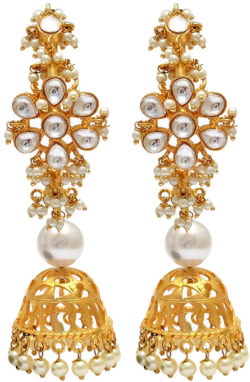Tvayaa Art Indian Chand Bali Earring Jhumka Ahmadabadi Kundan Bollywood Traditional Jewelry (4 inches)