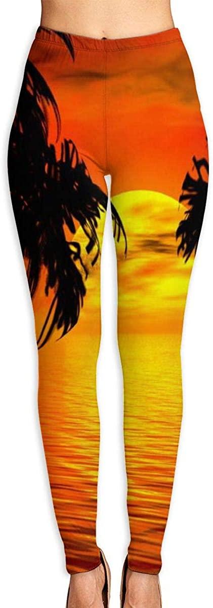 Tropical Sunset Women's 3D Digital Print High Wait Leggings Yoga Workout Pants