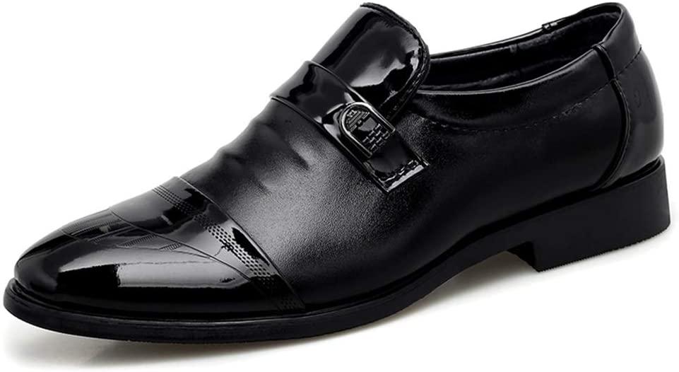 HONGkeke Slip-on Captoe Business Oxfords for Men Formal Loafers Classic Formal Dress Shoes PU Leather Abrasion Resistant Durable (Color : Black-Slip On, Size : 6 D(M) US)