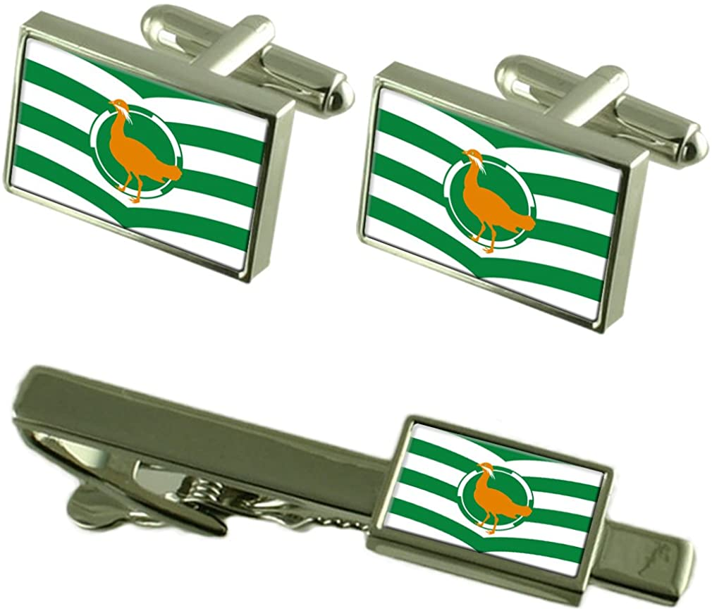 Select Gifts Wiltshire County England Flag Cufflinks Tie Clip Box Gift Set