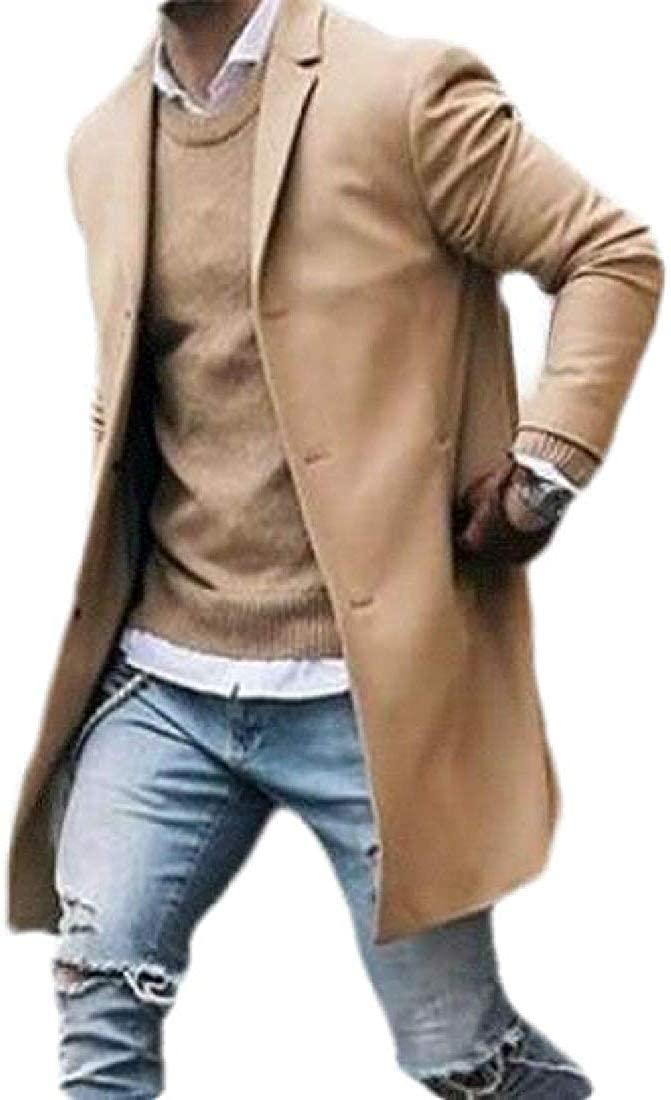 Wndxfhdscd Mens Trench Coat Overcoat Mid Length Winter Solid Pea Coat Jacket