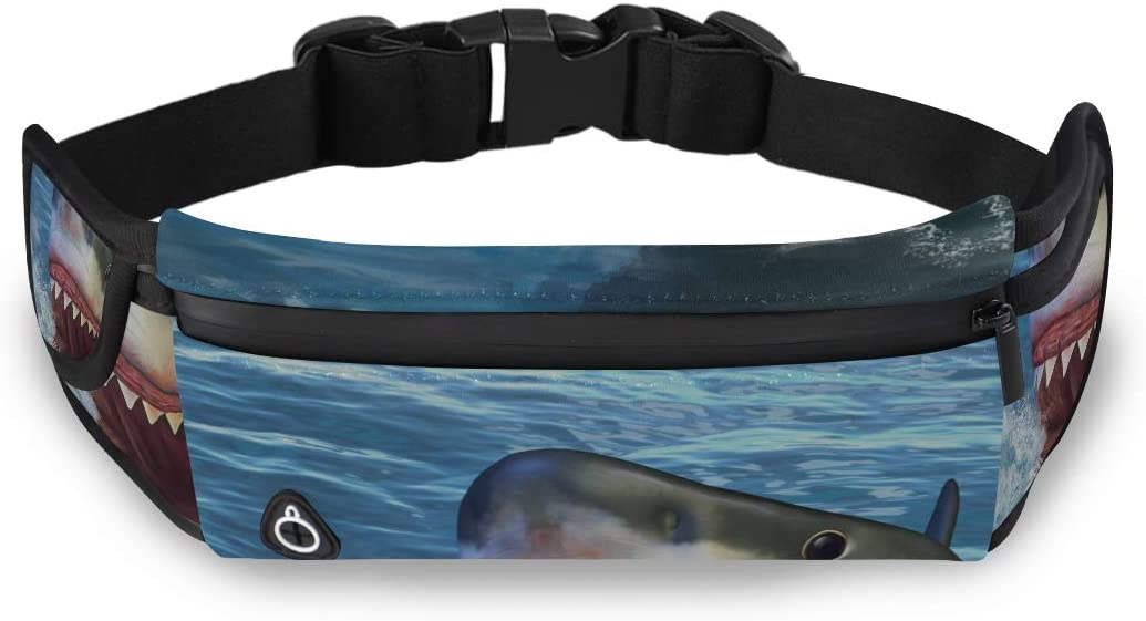 Fierce Awful Shark Underwater Big Waist Bag For Women Waist Pack Women Girls Fashion Bags With Adjustable Strap For Workout Traveling Running