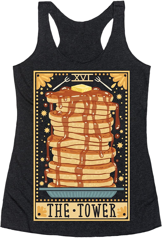 LookHUMAN Tarot Card: The Tower (of Pancakes) Heathered Black Women's Racerback Tank