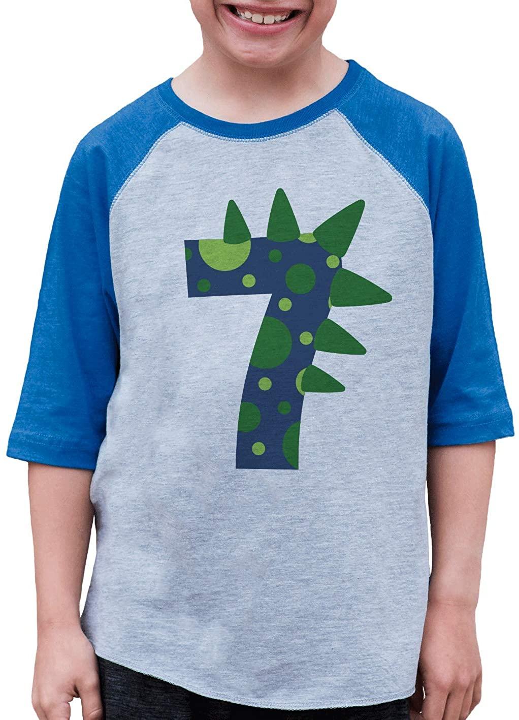 7 ate 9 Apparel Boy's Seven Dinosaur 7th Birthday Blue Raglan Tee