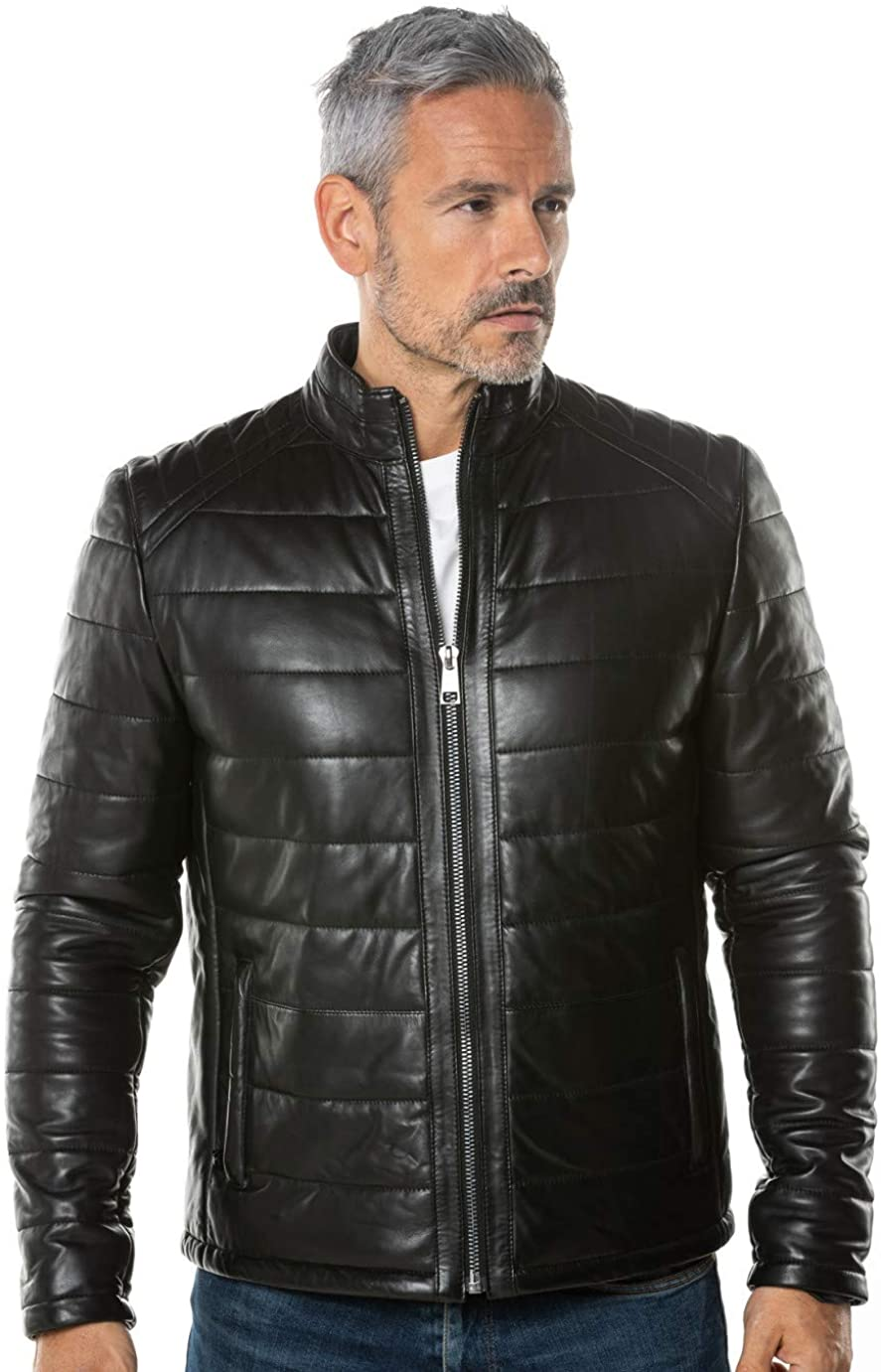 Benjer Skins Mens Genuine Lambskin Bomber Biker Motorcycle Leather Jacket Small Black 106