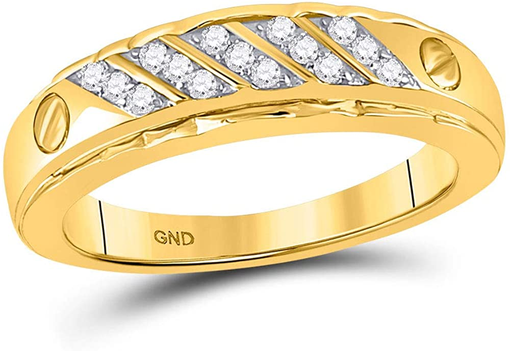 Dazzlingrock Collection 10kt Yellow Gold Mens Round Diamond Wedding Band Ring 1/5 Cttw