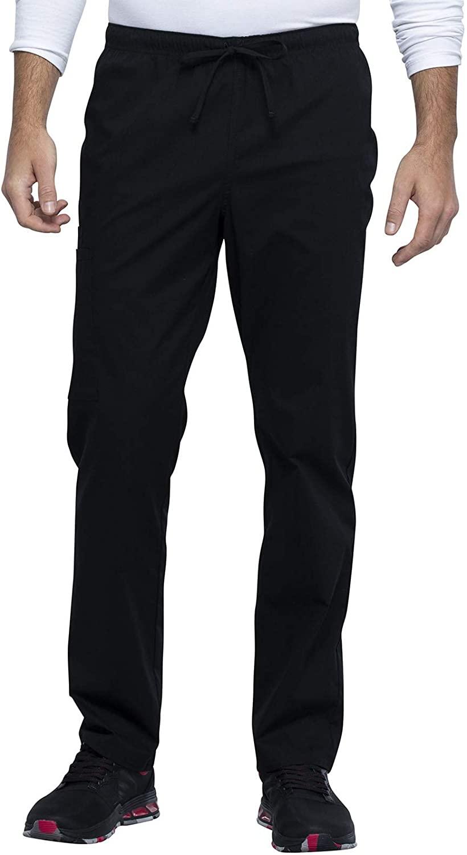 CHEROKEE Workwear WW Professionals Unisex Unisex Straight Leg Drawstring Pant, WW030, S, Black
