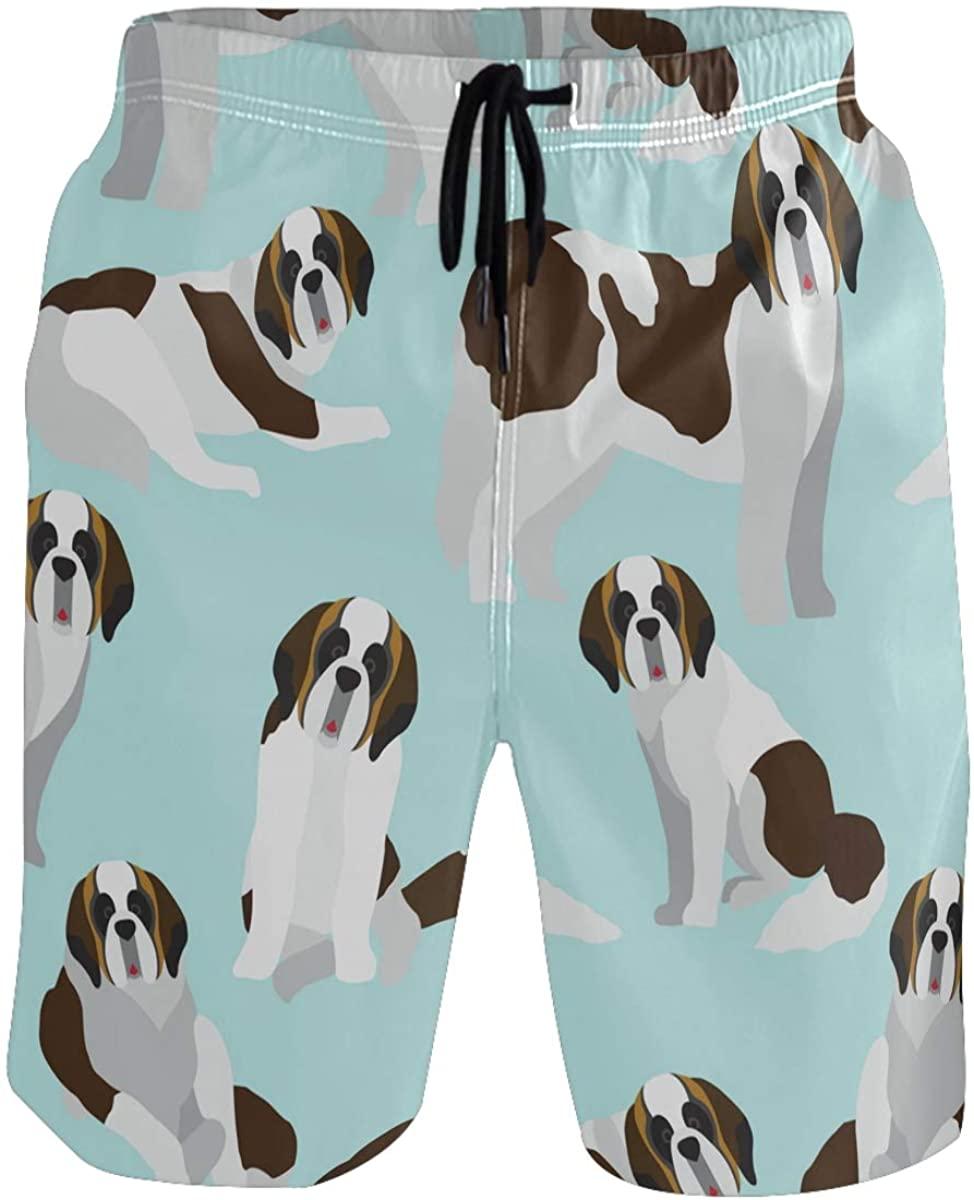 Men's Swim Trunks - Cute Animals Dog Beach Short Men Quick Dry Elastic Waist Board Shorts
