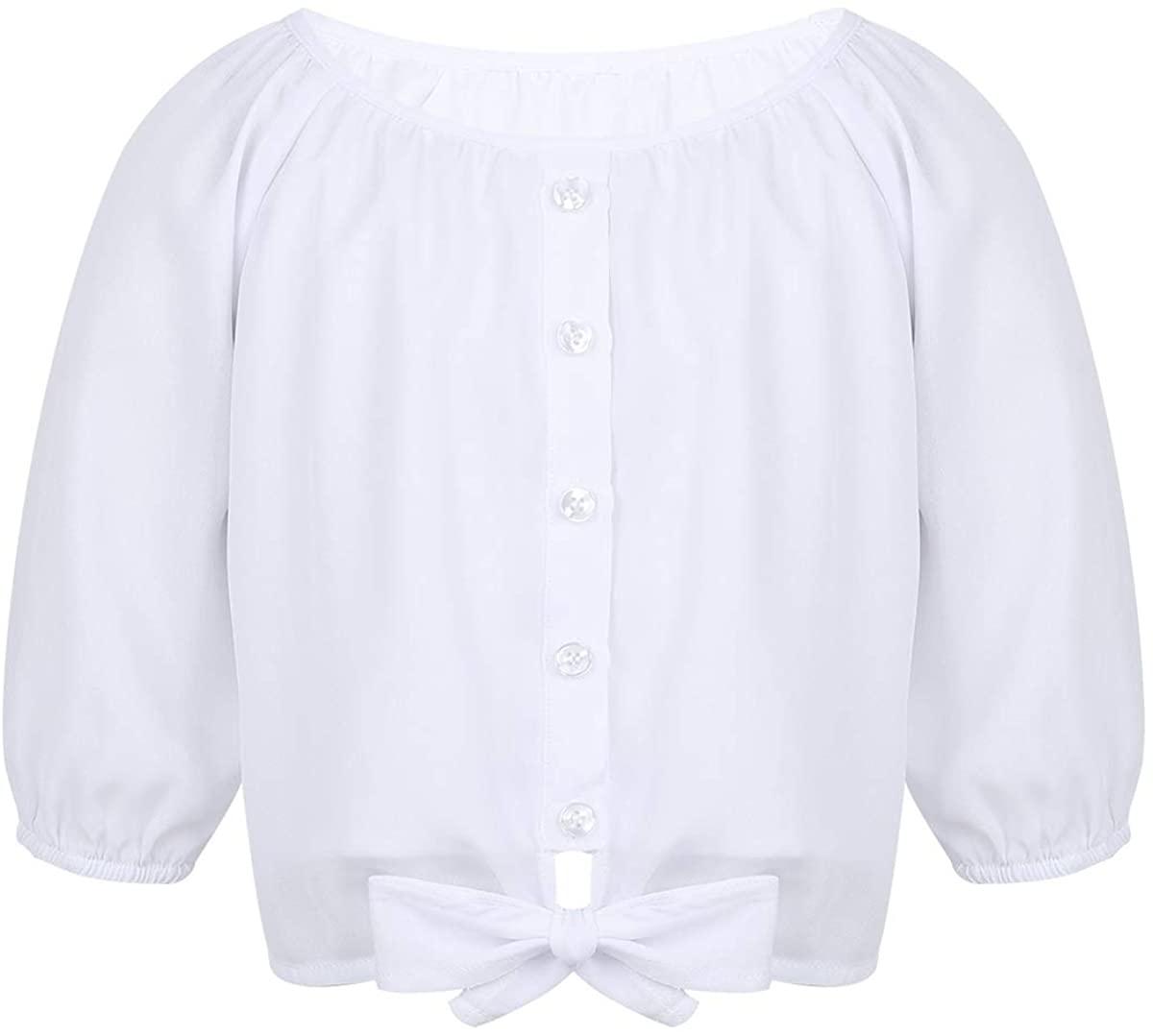 iiniim Kids Girls 3/4 Sleeves Chiffon Fashion Tee Shirt Blouse Top Round Neck Buttons Closure Shirt with Tie-Front