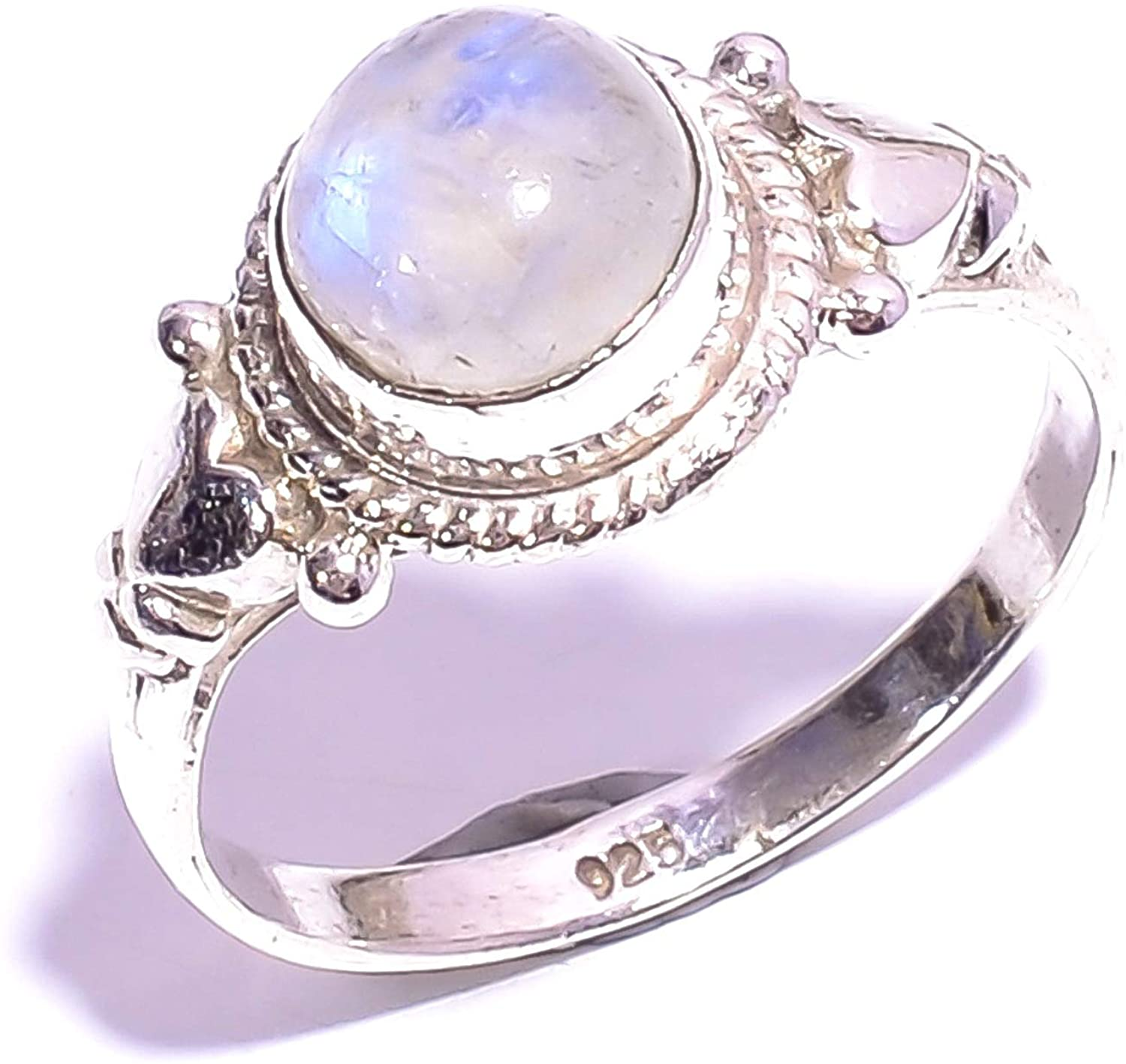 Mughal gems & jewellery 925 Sterling Silver Ring Natural Rainbow Moonstone Gemstone Fine Jewelry Ring for Women & Girls Size 6.25 U.S (ZR-914