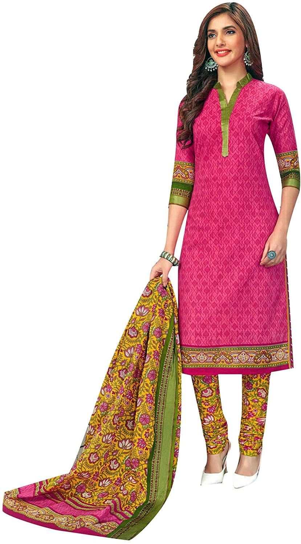Ladyline Cotton Garhwal Border Salwar Kameez Ethnic Printed Indian Casual Dress