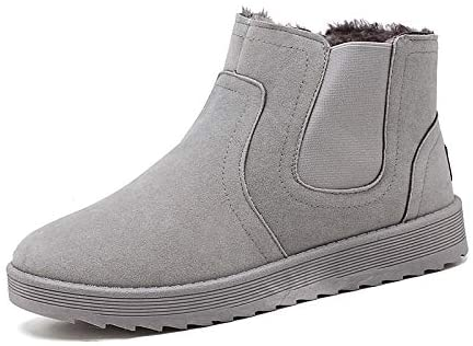 Zhukeke Men's Chelsea Style Snow Boots for Men Outdoor Winter Hiking Ankle Boot Soft Synthetic Leather Antislip Outsole Lined with Velvet Fashion Wear-Resistant (Color : Warm Gray, Size : 9 M US)