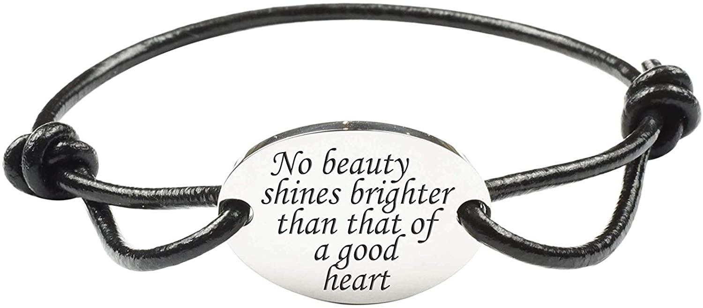 Pink Box Fully Adjustable Genuine Leather Inspirational Bracelet - Silver - Good Heart