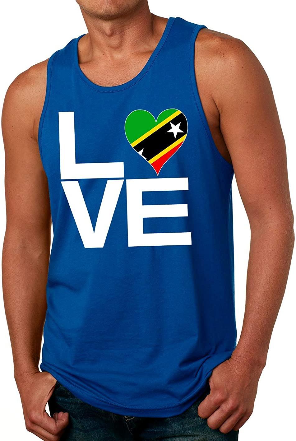 Tenacitee Men's Love Block Saint Kitts Heart Tank Top