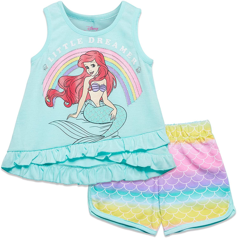Disney Little Mermaid Girls Ariel Tank Top & French Terry Shorts Set
