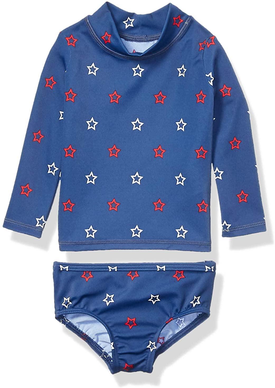 DHgate Essentials UPF 50+ Baby Girls 2-Piece Long-Sleeve Rash Guard Set
