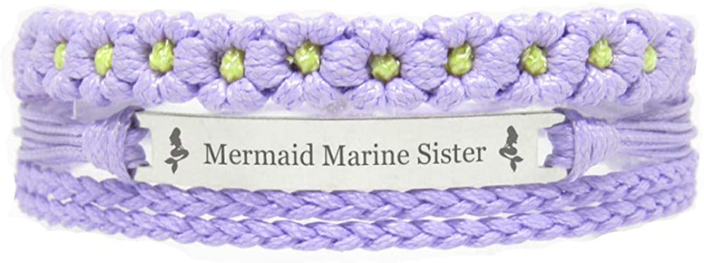 Miiras Family Engraved Handmade Bracelet - Mermaid Marine Sister - Purple FL - Made of Braided Rope and Stainless Steel - Gift for Marine Sister