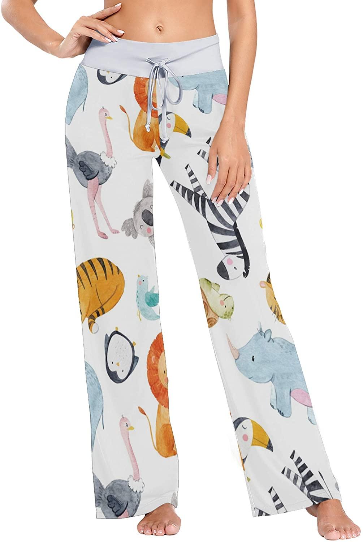 VVIEER Different Tropical Animals Print Womens Sleepwear Loose Palazzo Casual Drawstring Yoga Pants