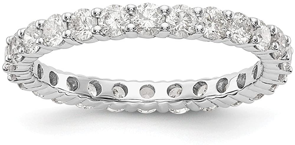 14K White Gold Ring Band Lab Grown Diamond SI1 SI2, G H I, Shared Prong Eternity, Size 7